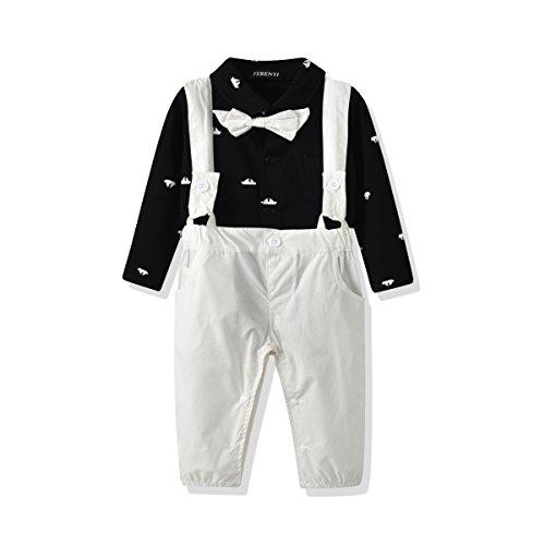 (FERENYI US Baby Boys Bowtie Gentleman Romper Jumpsuit Overalls Rompers (0-6 Months, Black))