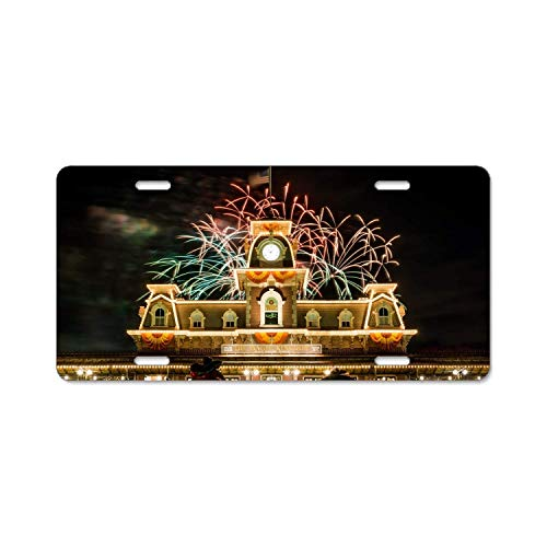 YEX Fireworks Halloween License Plate Frame with 4 Holes Novelty Car Licence Plate Covers Auto Tag Holder 12