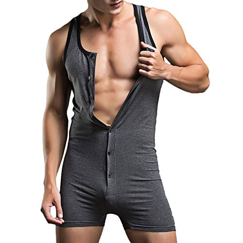 Reebok Mesh Polo Shirt - DEESEE(TM)Men's UnderwearsSexy Tank Tops Bodysuit Nightwear Jumpsuits Shorts (XL, Dark Gray)