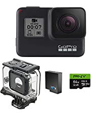 $279 » GoPro H7 Black + Extra Battery + Super Suit Dive Housing Case + 64GB SD Card- E-Com Packaging - Waterproof Digital Action Camera with Touch Screen 4K HD Video 12MP Photos Live Streaming Stabilization