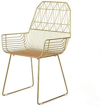 erhuo Jardín Mesa de Comedor al Aire Libre y sillas Silla de Hierro Forjado sillón sillón Creativo Nuevo, Dorado, 92 * 52 * 45 cm