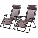 New Zero Gravity Chairs Case Of 2 Lounge Patio Chairs Outdoor Yard Beach O62 (Brown)