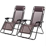 T-Foot New Zero Gravity Chairs Case Of 2 Lounge Patio Chairs Outdoor Yard Beach (Brown)