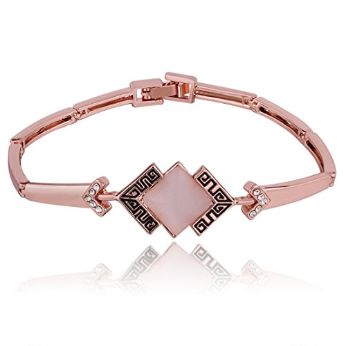 Women's 18KRGP Plating Rose Gold Shining Opal Crystal Link Bracelet (model 1)