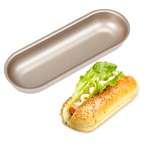 Hot Dog Mold, Sacow Hot Dog Bun Pan Hotdog Bread Mould Non Stick Bakeware 7 Inch Oval Cake Mold