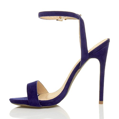 Cobalt Sandals Shoes Suede There Size Barely Blue High Women Ajvani Heel 8Xxw4RYY