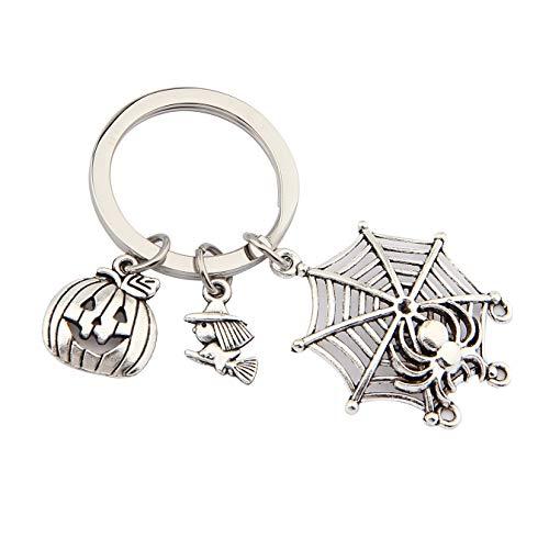 QIIER Halloween Charm Keychain Halloween Pumpkin Spider Web Witch Charms Keychain Key Ring (Silver)]()
