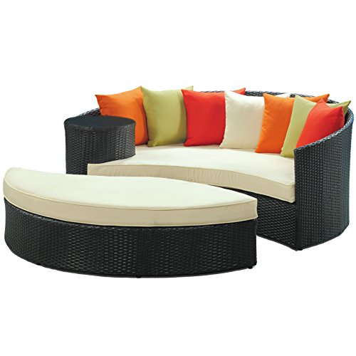 LexMod Taiji Outdoor Wicker Patio Daybed with Ottoman in Espresso with Multi Colored Cushions