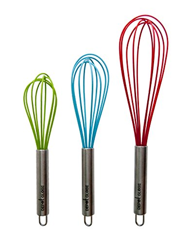 Silicone Kitchen 3 Whisk Set for Whisking, Blending, Beating, Stirring, Egg and Milk Frother, Eggbeater (Red: 12-inch, Blue: 10-inch, Green: 9-inch) by Depot Globe (Cake Tester Broom compare prices)