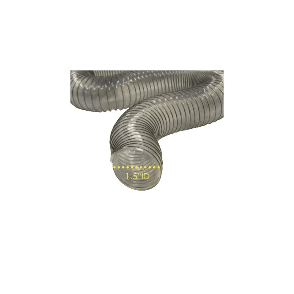 PVC Flexduct (Light Duty) Clear   Vent Hose   1.5 ID x 50ft Length Hose (Fully Stretched)