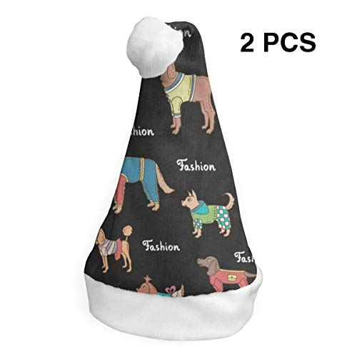 LoveBea Christmas Hat Fashion Dachshund Dog Pug Santa Headwear Xmas Cap Holiday Decorations 2 -