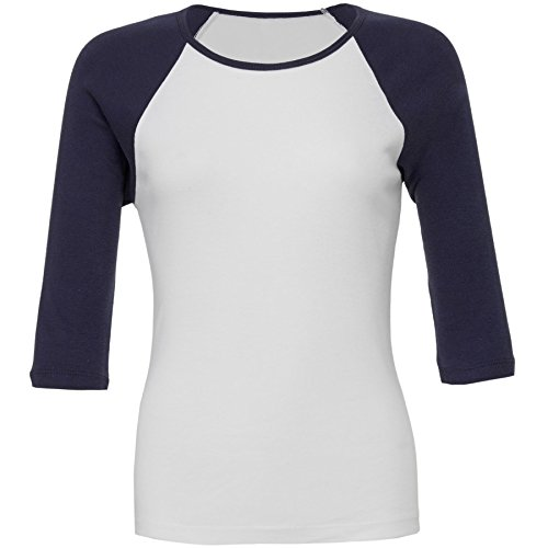 Bella+Canvas-Womens-Baby rib ¾ sleeve contrast raglan t-shirt-