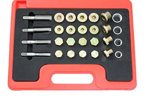 24pc Oil Pan Drain Plug Thread Repair Kit Metric Tool M13 M15 M17 M20 PMD Products