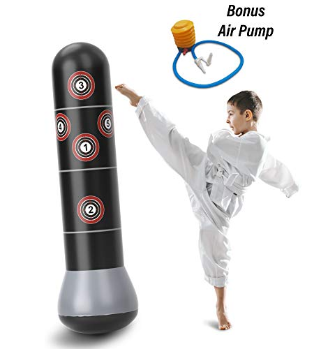 Agloryz Inflatable Punching Bag, Kid's Kickboxing Bag, Inflatable Boxing Bag + Air Pump Included, Target Freestanding Fitness Column, Durable PVC Material, Relaxing Boxing Bag for Adults & Children