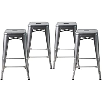 Buschman Set Of Four Gray 24 Inches Counter High Tolix Style Metal Bar  Stools,