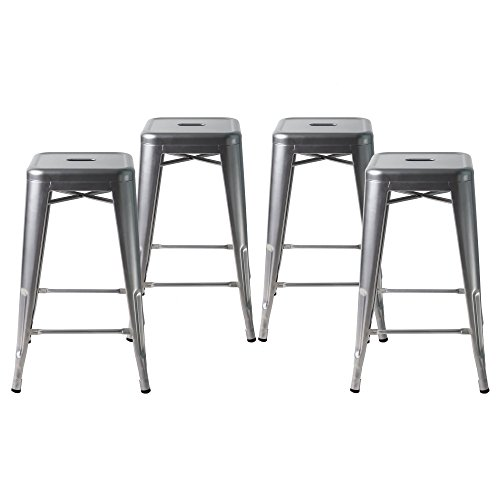 Buschman Set of Four Gray 24 Inches Counter High Tolix-Style Metal Bar Stools, Indoor/Outdoor, Stackable (Garden Stool Galvanized)