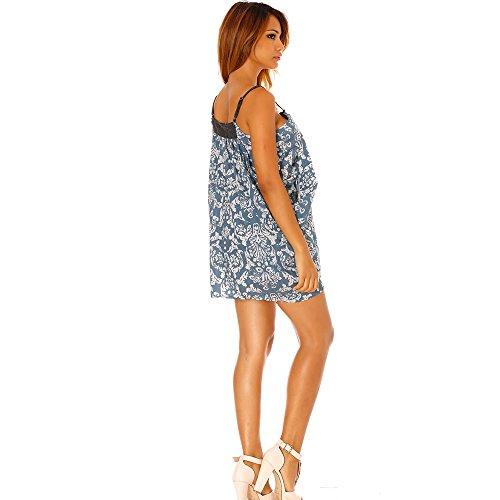 Miss Wear Line - Tunique bleu à zip, fines bretelles et motif cachemire