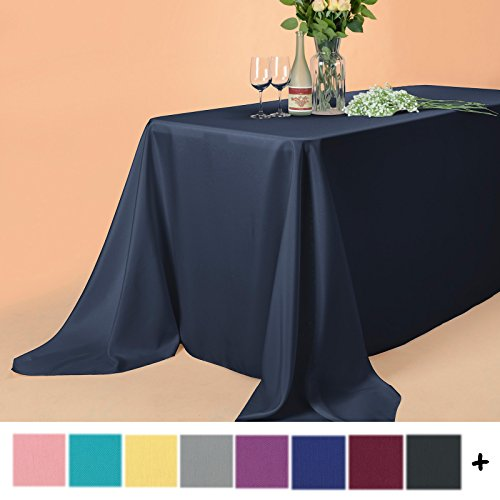 ch Rectangle Polyester Tablecloth Table Cover - Wedding Restaurant Party Banquet Decoration, Midnight Navy (Large Rectangle Table)