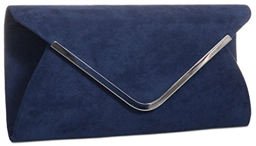 Suede Contrasting Classic Envelope Clutch Bag Trim Faux with Fuchsia Ladies Sized Medium Black wzd4qZIf