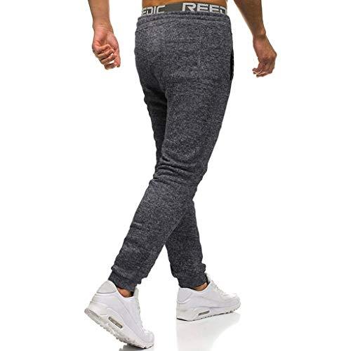 Pantalon Unie Elastique Foncé Casual Cordon De Homme Couleur Jogging Serrage Taille Yebiral Gris Sport SUqdtS