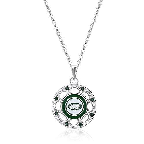 NFL New York Jets Circle Pendant Logo Necklace
