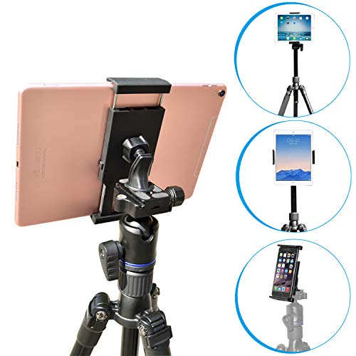 Tripod Tablet Mount with Adjustable Angles [2 in 1] for iPad Pro/Air/Mini, 7-11 inch Android Tablet, iPhone & Cell Phone - APPS2Car Universal Tablet Mount Tripod Holder Adapter Stand for - Galaxy Samsung Tab Tripod 4