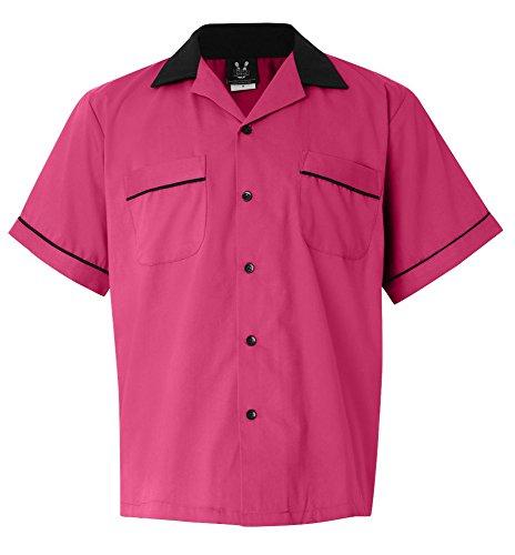 Pink/Black Legend 2244 Button Up Bowling Shirt LARGE by Cruisin' USA