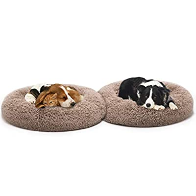 MIXJOY Orthopedic Dog Bed Comfortable Donut Cuddler Round Dog Bed Ultra Soft Washable Dog and Cat Cushion Bed (36'' x 36'') (Brown)