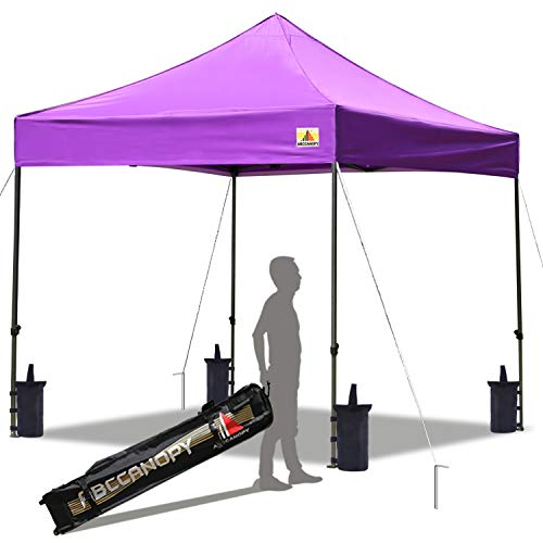 ABCCANOPY Pop up Canopy Tent Commercial Instant Shelter with Wheeled Carry Bag, Bonus 4 Canopy Sand Bags, 10x10 FT Purple (Cheap Items To Sell At Flea Markets)
