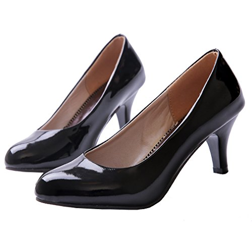 ENMAYER Womens Elegant Style Patent Leather High Heel Solid Pumps Black Gsmqtko