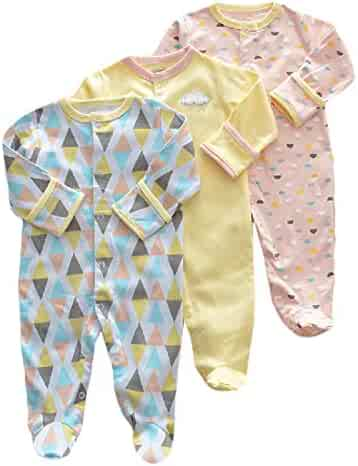 Comaba Kids Baby 3 Pack Long Sleeve Footed Fresh Style Pant Trousers Romper