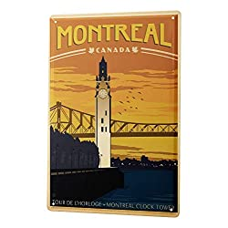 Metal Sign Deco City Montreal Canada Clock Tower Bridge River