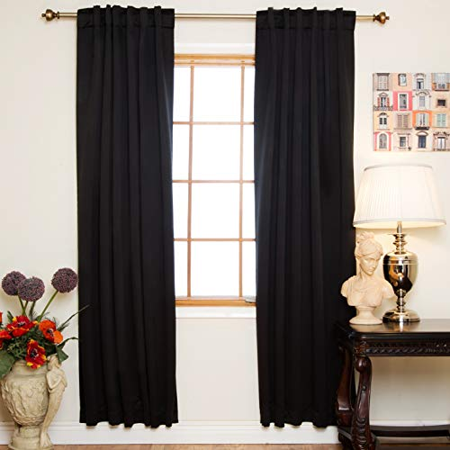 Pair Polyester Curtains - Blackout Curtain Black Rod Pocket Energy Saving Thermal Insulated 108 Inch Length Pair