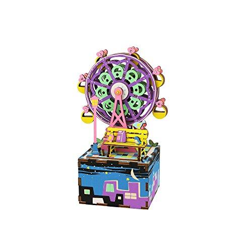 AM402 DIY 3D Wooden Puzzle Music Box: Ferris Wheel (Music Wooden)