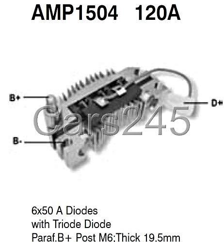 Alternador Diodo Puente rectificador diodos de Fiat Renault asiento X6 50 A amp1504: Amazon.es: Coche y moto