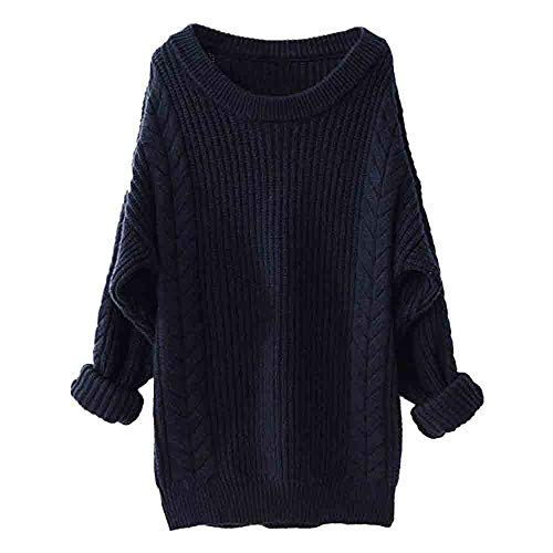 iFOMO Solid Ribbed Thick Cable Knit Twist Round Neck Boyfriend Long Sweater for Women(Navy,S)