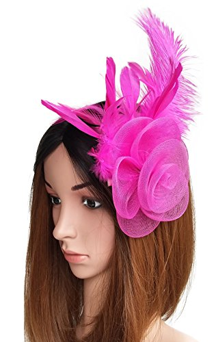 Coolwife Fascinator Headwear Feather Flower Mesh Headband Hairclip for Derby Ball Tea Party (Rose Red) by Coolwife