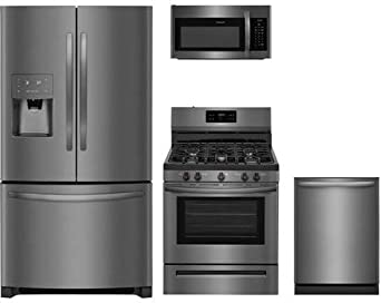 "Frigidaire 4-Piece Black Stainless Steel Package, FFHB2750TD 36"" French Door Refrigerator, FFGF3054TD 30"" Gas Range, FFMV1645TD 30"" Over-the-Range Microwave, FFID2426TD 24"" Fully Integrated Dishwasher"