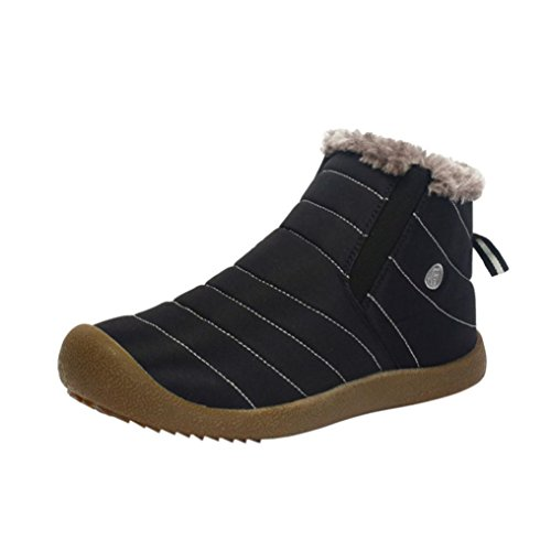 Elevin (tm) 2018men Vintern Varm Päls Fodrade Snö Boots Utomhus Lätta Vattentäta Tossor Svart