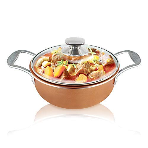 2.8 QT Nonstick Copper Ceramic Coating Casserole pot with lid Stainless Steel Induction Base Sauce Pot Stove Pot, Induction Pot, stew pot, copper pot with Lid (Copper) ()