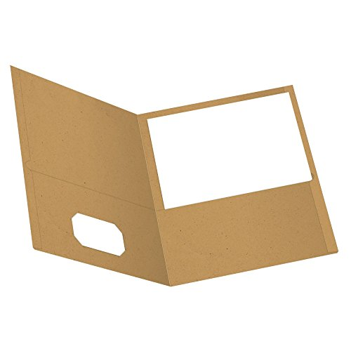 EarthWise by Oxford Twin Pocket Folders, Letter Size, Natural, 25 per Box (78542)