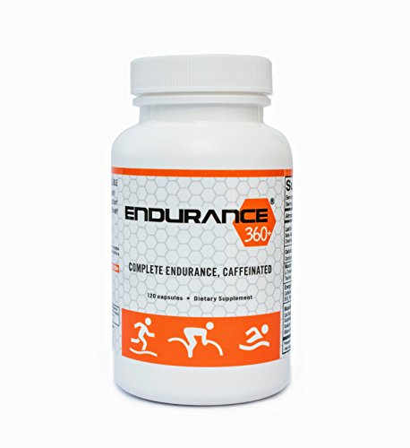Endurance360+® CAFFEINATED Endurance Supplement for TRIATHLETES, RUNNERS & CYCLISTS. Boost VO2 Max, Aid Muscle Soreness, Muscular Endurance, Recovery, Reduce Muscle Fatigue, Rhodiola & Cordyceps