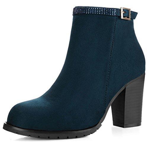Allegra K Women's Rhinestone Strap Chunky Heel Ankle Booties (Size US 10) Blue