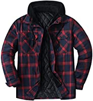 ZENTHACE Men's Thicken Plaid Hooded Flannel Shirt Jacket with Quilted L