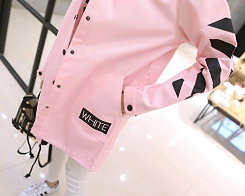 Longue Jacket Longue pink Hoodie Femme Manche Longue Coa Breasted Veste Single Trench tTqn1Hw