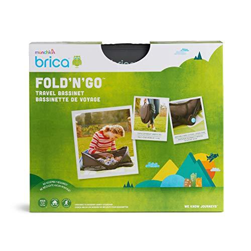 41Alr8rRAmL - Munchkin Brica Fold N' Go Travel Bassinet, Grey
