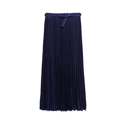 OCHENTA Femme Jupe Ete Plisse Casual En Mousseline de Soie Long Maxi Retro Tour de taille 64-86cm Longueur 82cm Bleu marin