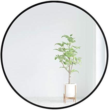 EMAISON Black Metal Frame Mirror, 30 inch Round Modern Decorative Wall Mounted Mirror for Livingroom Bathroom