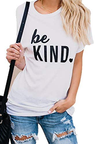 (JINTING Be Kind Tshirt Women Be Kind Letter Print Casual T Shirt Tops White)