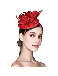SEALEN Fascinator Feather Fascinators for Women Pillbox Hat for Wedding Party Derby Royal Banquet